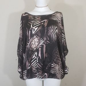 Bebe brown and black beaded womens poncho blouse